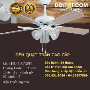 Quạt trần đèn cánh gỗ cao cấp DTHL42-623WH