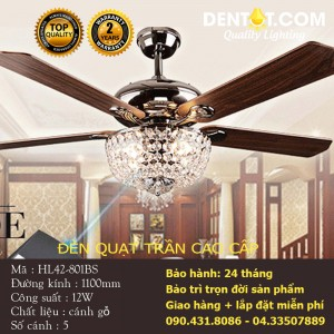 Đèn quạt trần nhập khẩu cao cấp DTHL42-801BS