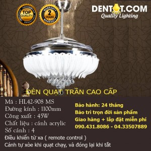 Quạt trần đèn chùm LED cao cấp DTHL42-908MS