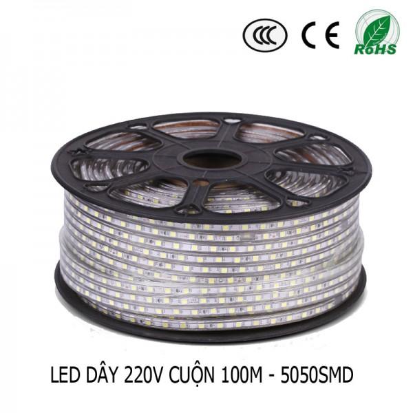 LED dây 220V cuộn 100m MÀU TRẮNG